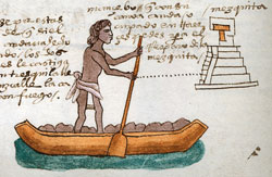 Pic 3: An Aztec youth doing community service by transporting building materials needed to repair a temple by canoe. Codex Mendoza folio 63r