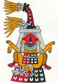 Imágen 12: Representación de Tlazolteotl, protectora de las parteras, doctoras y adivinas, de Miguel Covarrubias, basada en el Códice Borbónico p. 13