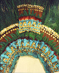 Detail of the richly decorated headdress that many believe was a gift from Moctezuma to Cortés