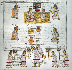 Aztec wedding ceremony, Codex Mendoza