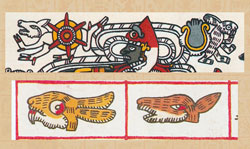 The deer (L) carries the sun, the rabbit (hare?) (R) carries the moon (top); Rabbit (Hare?) (L) and Deer (R) - 2 daysigns in the sacred calendar. Codex Borgia pp 33 and 8