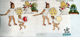 Two Aztec conquest scenes, each including captor with captive and a toppled/burning pyramid temple, Codex Mendoza folio 2r (detail)