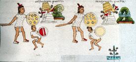 Escena de dos conquistas Aztecas, cada una incluye al captor con el captivo y una pirámide templo derribada y ardiendo. Códice Mendoza folio 2r (detalle)