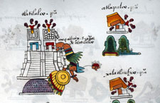 The Aztecs vanquish the mighty city of Tlatelolco - its twin temple is in flames, and the dead leader Moquihuix tumbles from the temple, wearing the full regalia of his position - Codex Mendoza folio 10r