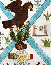 Un simbólico estante de cráneos al lado del emblema de la ciudad de Tenochtitlan, Códice Mendoza folio 2r (detalle) – una de las pocas imágenes en éste códice que da cuenta del sacrificio humano