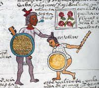 Un joven capturando a un guerrero es dado con una manta floreada (capa) como símbolo de su valentía; El se podía poner este emblema de honor en ocasiones rituales. Códice Mendoza folio 64r (detalle)