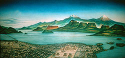 Painting of Lake Texcoco, Tenochtitlan and environs, National Museum of Anthropology, Mexico City