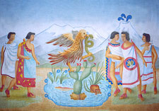 Painting of the founding of Tenochtitlan, National Museum of Anthropology, Mexico City