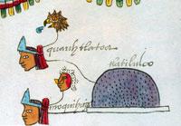 Lords of Tlatelolco alongside the pictographic sign depicting Tlatelolco in a folio (19r) of the Codex Mendoza showing tribute paid to Tenochtitlan