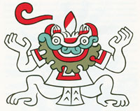 Pic 7: Tlaltecuhtli (illustration by Miguel Covarrubias, adapted from the Codex Borbonicus, plate 16)