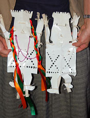 Pic 15: Close-up of paper images of Grandfather and Grandmother earth spirits without their cloth costumes.