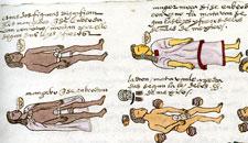 Drunken youths, Codex Mendoza, folio 71