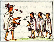 A 'keeper of the gods', head of a Calmécac school, addresses students, Florentine Codex Book 2