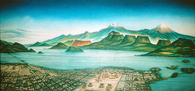 Pic 1: Painting of Lake Texcoco, Tenochtitlan and environs, National Museum of Anthropology, Mexico City