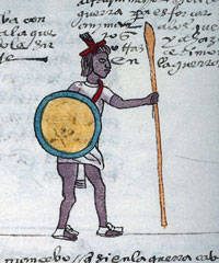 Pic 3: An Aztec warrior bearing spear, shield and... hinted at strapped round his shoulder is a leather atlatl-holder, mentioned by the Spanish. Codex Mendoza folio 64