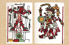 Pic 6: Costumed as Death, a warrior uses an atlatl to sacrifice a captive tied to a scaffold, Codex Zouche-Nuttall, folios 84 and 83