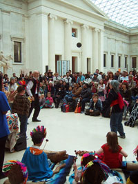 El Gran Atrio del Museo Británico fue anfitrión del antiguo ritual mesoamericano del juego de pelota...