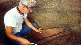 Pic 4: Warren Wittry excavating the remnant of a red cedar post