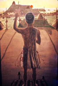 Pic 9: Illustration by Richard Dunker of a Sun Priest at Cahokia officiating at an equinox ceremony