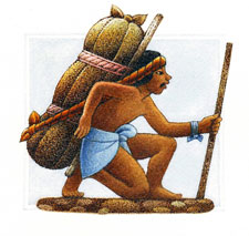 Pic 2: Artist's illustration of an Aztec 'tameme' (porter): his staff could be used to prop up the load during road stops