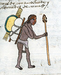 Pic 3: Aztec youth 'who goes to war loaded with provisions and arms', Codex Mendoza folio 63r