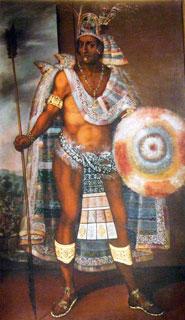 Detail of the portrait of Moctezuma by Antonio Rodriguez