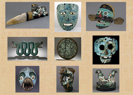 Pic 3: The nine Mexica-Mixtec turquoise mosaics in the British Museum.