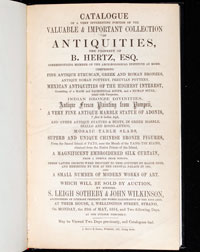 Pic 7: Title page of the Catalogue of Bram Hertz's 1854 sale.