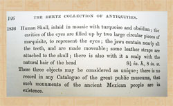 Pic 8: Part of Hertz's description of the three Mexican antiquities in his 1854 sale catalogue at Sotheby's.