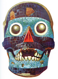 Pic 10: Drawing of the BM skull mask by Miguel Covarrubias, from 'Indian Art of Mexico & Central America' opp. p. 316
