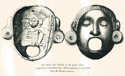Pic 12: 'The inside and outside of an Aztec mask' in Henry Christy's collection, from 'Anahuac' by Edward Tylor (1861), p. 227