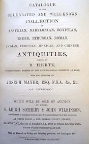 Pic 17: Title page of the catalogue of the Hertz/Mayer 1859 sale.