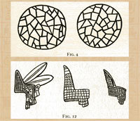Pic 19: Drawings of turquoise mosaic pieces and mosaic-and-feather diadems, from Marshall Saville 'Turquois Mosaic Art in Ancient Mexico' (1922) pp. 25 & 58