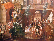 Pic 11: According to popular legend it was Cuauhtemoc (pictured bottom centre) who killed Moctezuma with his sling...