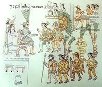 Pic 13: Cuautémoc surrenders, Lienzo de Tlaxcala (Doña Isabel is depicted, top right)