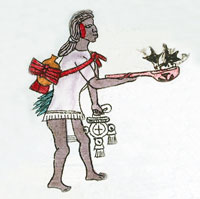 Fig 3: A scantily-clad young man (wearing a xicolli) prepares to become a priest, Codex Mendoza folio 63.