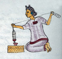 Fig 4: A newly-married woman spins cotton thread, Codex Mendoza, folio 68r.