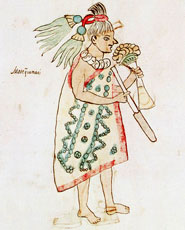 Pic 2: Moctezuma bears (and smells!) a bouquet of flowers in one hand, and a smoking tube in the other, Codex Vaticanus 3738 folio 60r