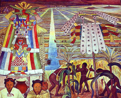 Pic 5: Chicomecóatl, goddess of maize and fertility alongside extensive chinampa 'floating gardens' - part of a mural by Diego Rivera, National Palace, Mexico City, 1945
