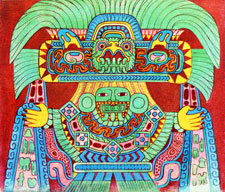 Pic 9: The rain god Tlaloc, painting by Miguel Covarrubias from a mural in a building at Tetitla, Teotihuacan
