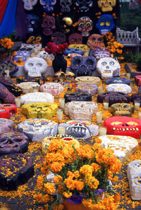 Pic 17: Marigolds - always at the heart of Day of the Dead festival decorations and displays (here at Coyoacán, Mexico City)