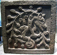 Stone relief depicting the ahuitzotl, National Museum of Anthropology, Mexico City. LOOK CAREFULLY FOR THE HUMAN HAND IN THE TAIL!