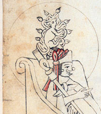 The Ahuitzotl glyph identifies the Aztec ruler of the same name, Codex Azcatitlan folio 21a