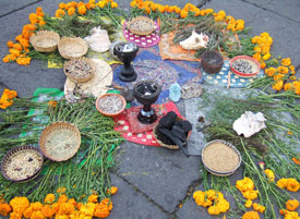 Pic 7: Incense, flowers and conch shells - pre-Hispanic elements in a modern-day 'Aztec' offering