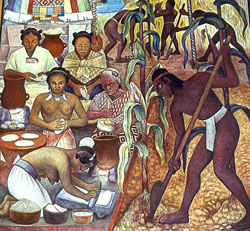 Pic 8: Farming maize - detail from a mural painting by Diego Rivera, National Palace, Mexico City
