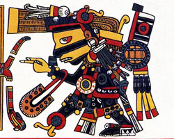 "Pic 10: Tezcatlipoca as he appears in the Borgia screenfold 21. He wears his ""smoking"" (that is, grey and clouded) mirror in place of a foot, and around his neck."