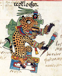 Pic 18: Tepeyollotl, the thunder-jaguar, a manifestation of Tezcatlipoca. Codex Telleriano-Remensis f.9v.