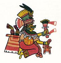 Pic 19: Xilonen, goddess of the young maize plant. Codex Magliabechiano f.36r.