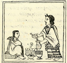 Pic 5: An Aztec woman prepares a flower-seeds-based medicine for her husband