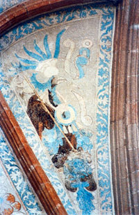 Pic 2: A plumed eagle, painted on the transept vaulting of the church of San Miguel Arcángel, Ixmiquilpan, Hidalgo
